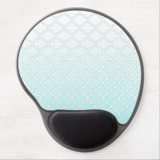 Cool Teal Gradient Quatrefoil Pattern Gel Mouse Pad