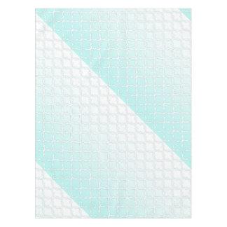 Cool Teal Gradient Quatrefoil Pattern Tablecloth