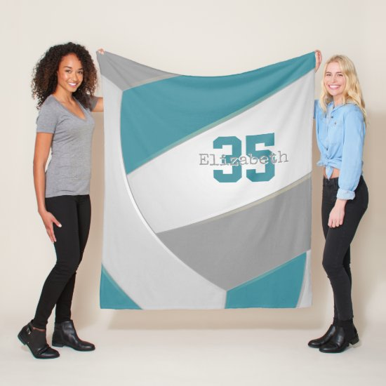 cool teal gray and white super sized volleyball fleece blanket