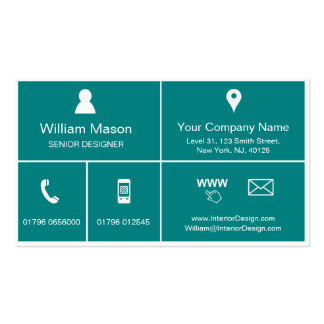 Cool Teal Metro Style Design - Business Card