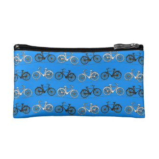 Cool Teal Turquoise Blue Vintage Bicycles Bikes Cosmetic Bag