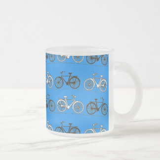 Cool Teal Turquoise Blue Vintage Bicycles Bikes Frosted Glass Coffee Mug