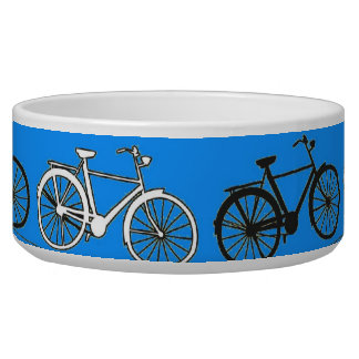 Cool Teal Turquoise Blue Vintage Bicycles Bikes Pet Bowl