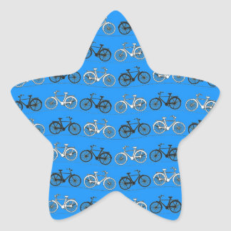 Cool Teal Turquoise Blue Vintage Bicycles Bikes Star Sticker