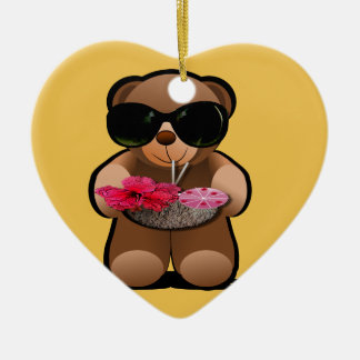 Cool Teddy Bear With Sunglasses Ceramic Ornament