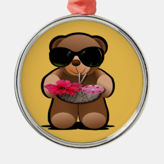 Cool Teddy Bear With Sunglasses Metal Ornament