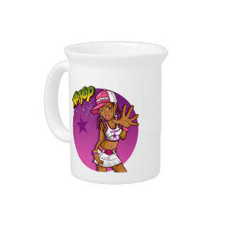 Cool Teen Hip Hop Rapper Pink and Purple Cartoon Beverage Pitchers