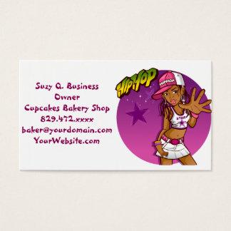 Cool Teen Hip Hop Rapper Pink and Purple Cartoon Business Card
