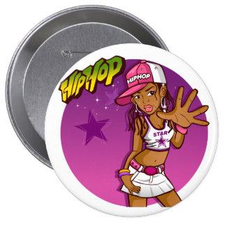 Cool Teen Hip Hop Rapper Pink and Purple Cartoon Button