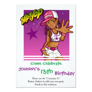 Cool Teen Hip Hop Rapper Pink and Purple Cartoon Card