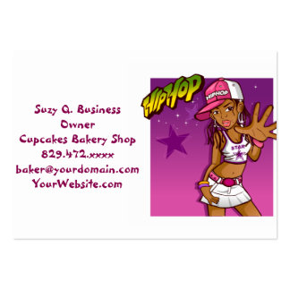Cool Teen Hip Hop Rapper Pink and Purple Cartoon Large Business Card