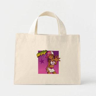 Cool Teen Hip Hop Rapper Pink and Purple Cartoon Mini Tote Bag