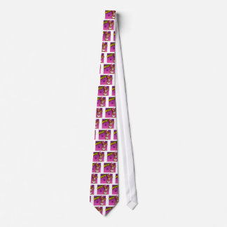 Cool Teen Hip Hop Rapper Pink and Purple Cartoon Neck Tie
