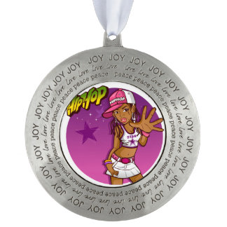 Cool Teen Hip Hop Rapper Pink and Purple Cartoon Pewter Ornament