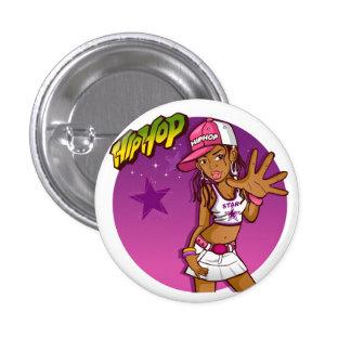 Cool Teen Hip Hop Rapper Pink and Purple Cartoon Pinback Button