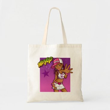 jurassic_world Cool Teen Hip Hop Rapper Pink and Purple Cartoon Tote Bag