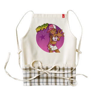 Cool Teen Hip Hop Rapper Pink and Purple Cartoon Zazzle HEART Apron