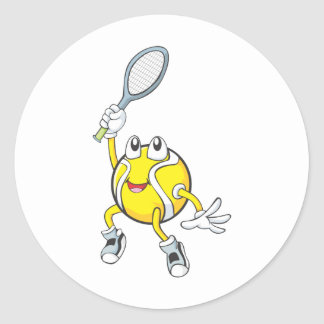 Cool Tennis Ball Holding Racquet Classic Round Sticker