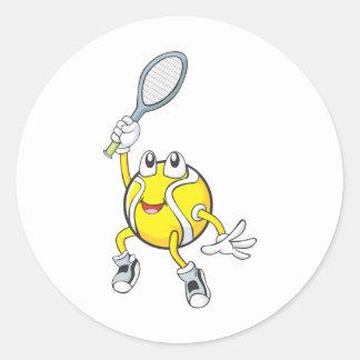 Cool Tennis Ball Holding Racquet Classic Round Sticker