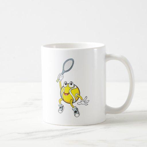 Cool Tennis Ball Holding Racquet Coffee Mug