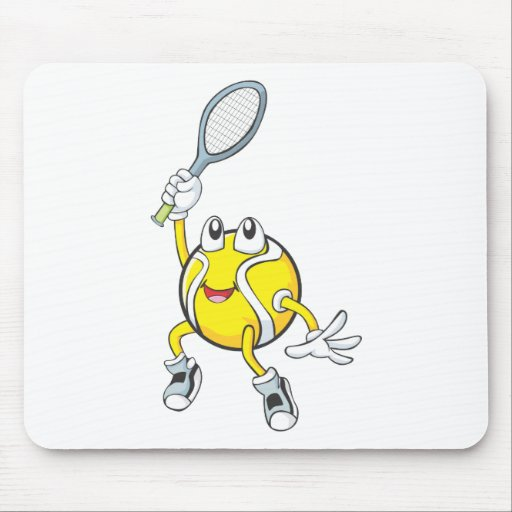 Cool Tennis Ball Holding Racquet Mouse Pad