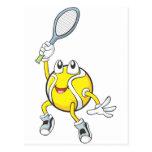 Cool Tennis Ball Holding Racquet Post Card