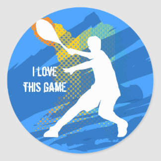Cool tennis sticker: I love this game Classic Round Sticker