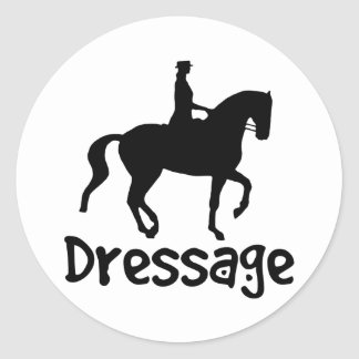 Cool Text Dressage w/ Piaffe Horse Round Stickers