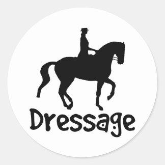 Cool Text Dressage w/ Piaffe Horse Classic Round Sticker