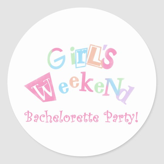 Cool Text Girls Weekend Bachelorette Party Classic Round Sticker