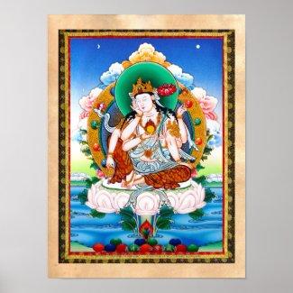 Cool tibetan thangka Cintamanicakra Avalokitesvara Poster