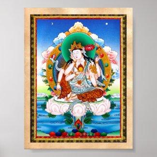 Cool tibetan thangka Cintamanicakra Avalokitesvara Poste