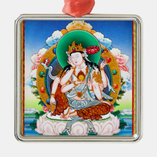 Cool tibetan thangka Cintamanicakra Avalokitesvara Square Metal Christmas Ornament