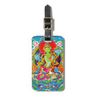 Cool tibetan thangka green tara god tattoo tag for luggage
