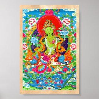 Cool tibetan thangka green tara god tattoo poster