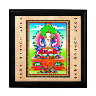 Cool tibetan thangka Shadakshari Avalokiteshvara Jewelry Box