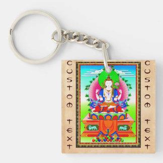 Cool tibetan thangka Shadakshari Avalokiteshvara Keychain