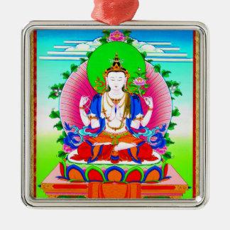 Cool tibetan thangka Shadakshari Avalokiteshvara Metal Ornament