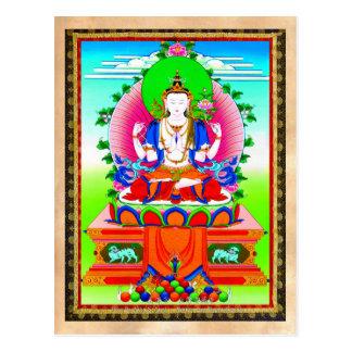 Cool tibetan thangka Shadakshari Avalokiteshvara Postcard