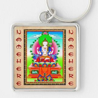 Cool tibetan thangka Shadakshari Avalokiteshvara Silver-Colored Square Keychain