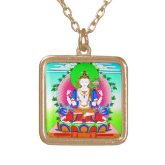 Cool tibetan thangka Shadakshari Avalokiteshvara Square Pendant Necklace