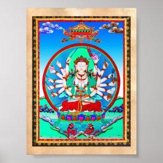 Cool tibetan thangka tattoo Cundhi Bodhisattva Posters