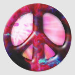Cool Tie Dye Space Nebula Peace Sign Classic Round Sticker