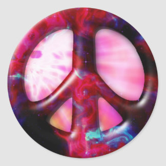 Cool Tie Dye Space Nebula Peace Sign Stickers