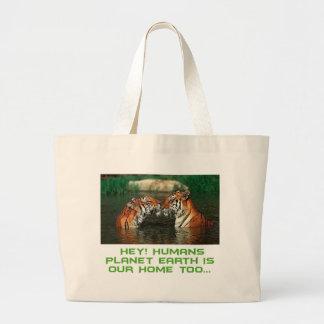 cool Tiger designs Large Tote Bag