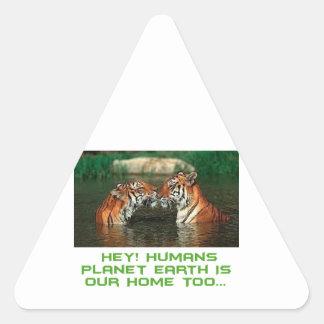cool Tiger designs Triangle Sticker