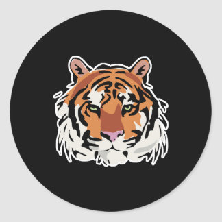 cool tiger face design classic round sticker