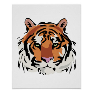 cool tiger face design poster