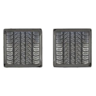 Cool Tire Rubber Automotive Texture Decor Gunmetal Finish Cufflinks