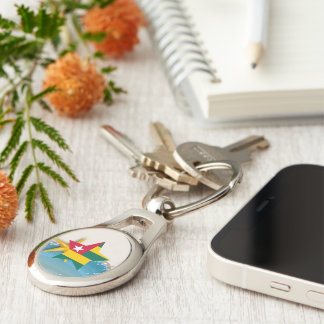 Cool Togo Flag at the Beach Silver-Colored Oval Metal Keychain